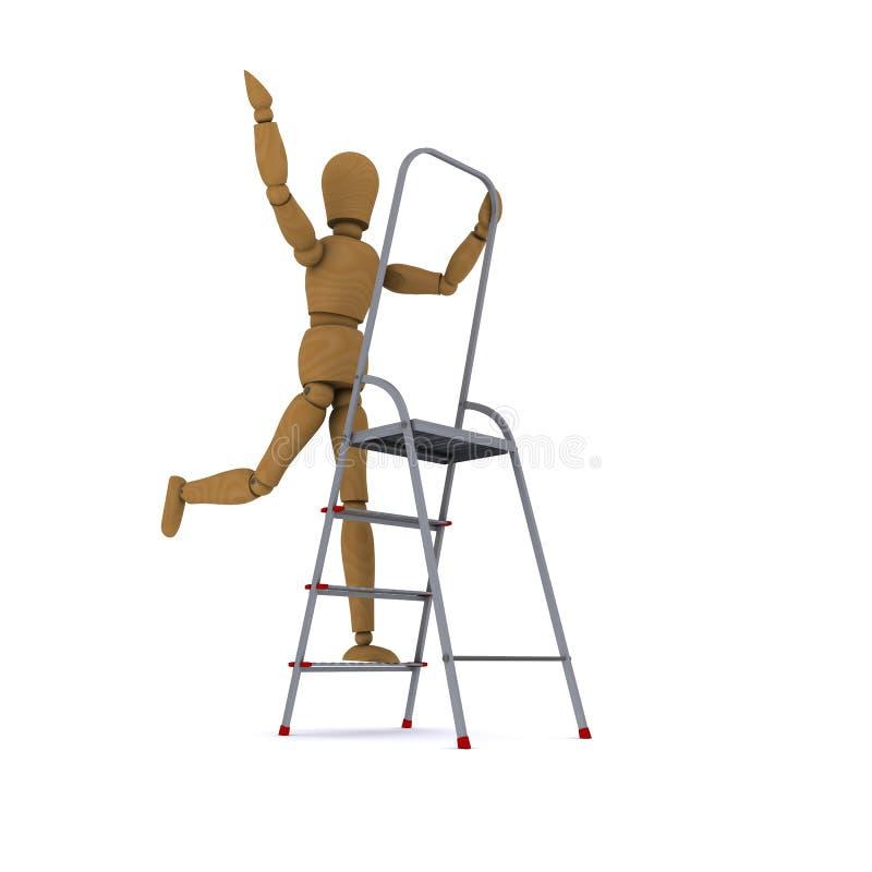 La danse en bois d'homme sur un stepladder illustration de vecteur