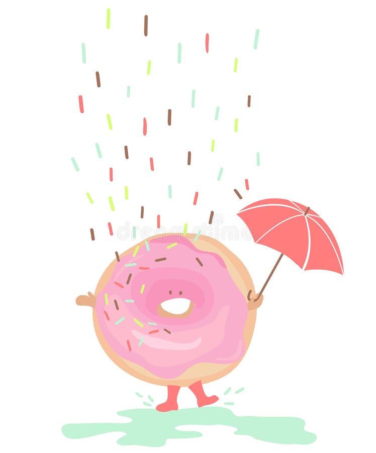 La danse heureuse de beignet arrose dedans illustration de vecteur