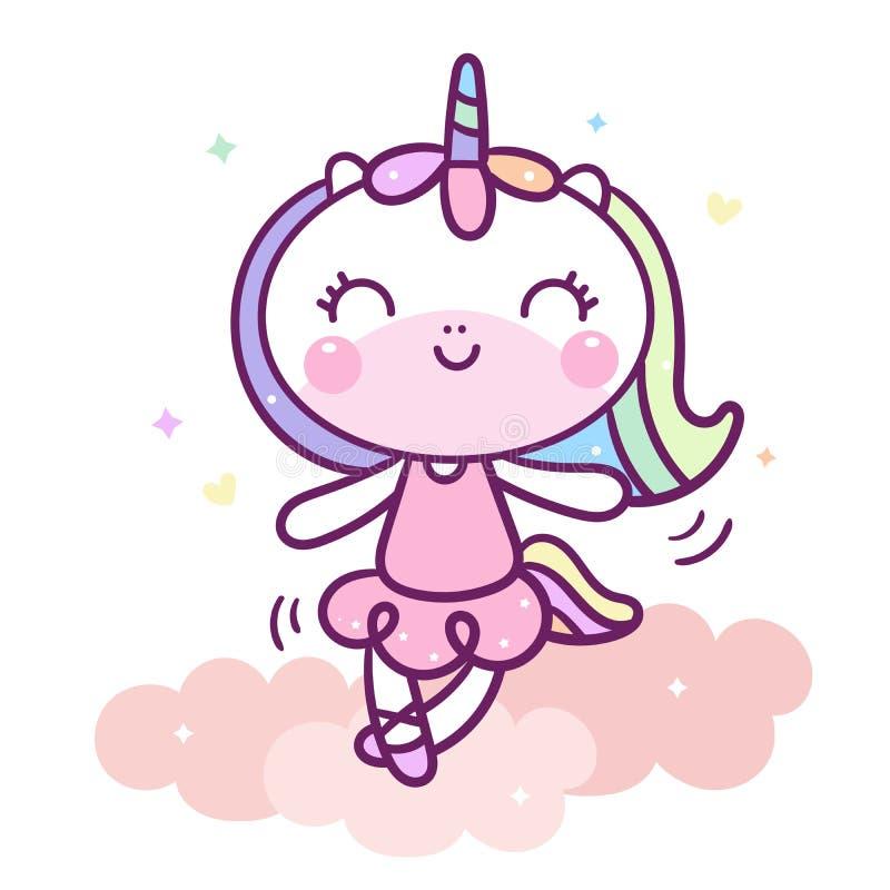 La danse mignonne d'Unicorn Cartoon sur l'animal de bébé de nuage dirigent la couleur en pastel avec l'étoile de coeur et d'amour illustration libre de droits