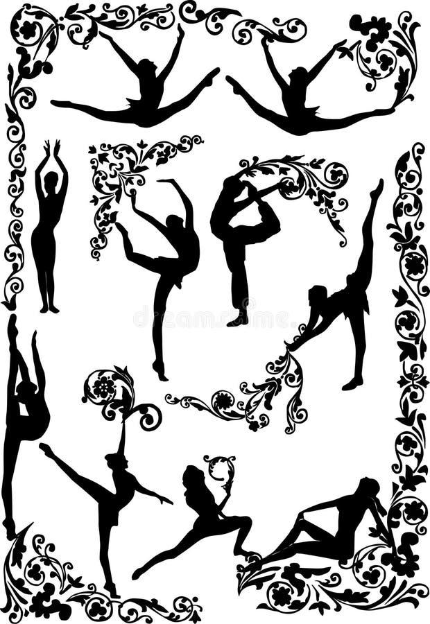 la danse silhouette des femmes illustration libre de droits