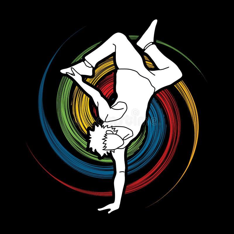 La danza de la calle, muchachos de B baila, vector del gráfico de la acción del baile de Hip Hop stock de ilustración