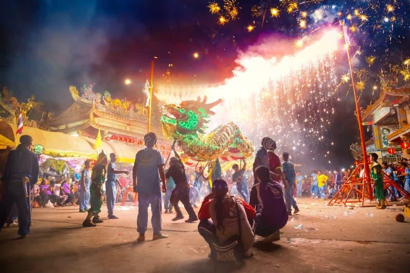 La danza del dragón se realizó para una celebración lunar del Año Nuevo imágenes de archivo libres de regalías