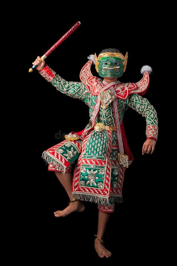 La danza tailandesa de la máscara llamó Khon foto de archivo