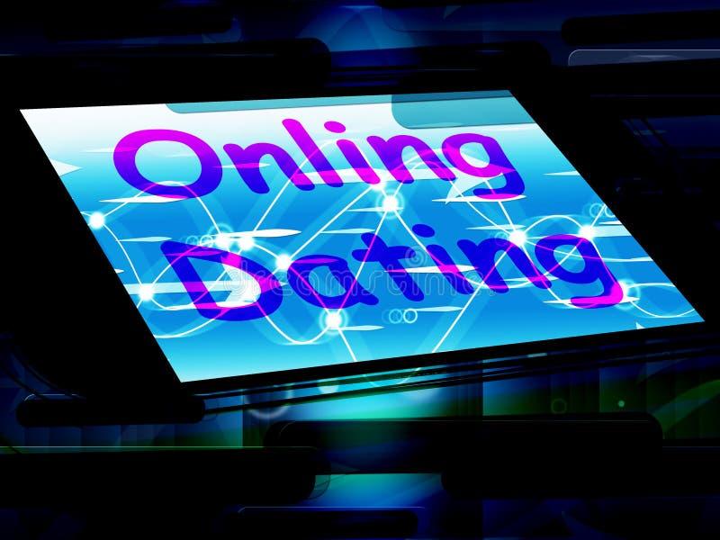 La datación en línea en el teléfono muestra Romancing y al amante del web stock de ilustración