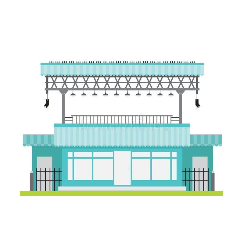 La de acero blanco del negro azul de la ventana delantera del vector del edificio comercial stock de ilustración