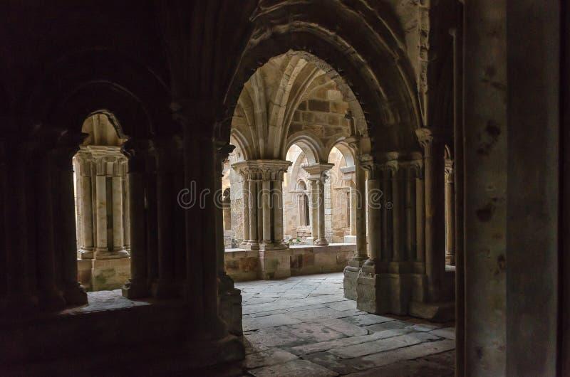La de Santa Maria de monastère de cloître vraie en Aguilar de Campoo Palencia image libre de droits