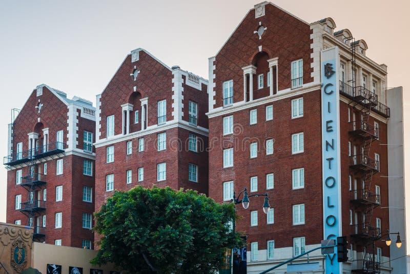 LA, DE V.S. - 30TH OKTOBER 2018: Een schot van de kerk van Scientology-de bouw in Los Angeles, Californië, de V.S. De zomer van 2 stock foto's