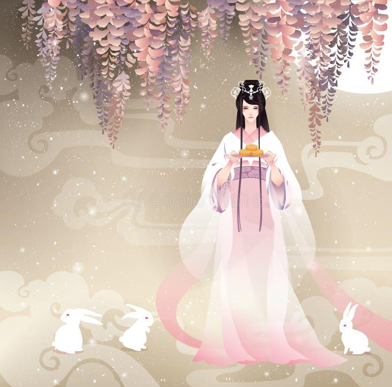 La dea cinese della luna, Chang'e e la luna agglutinano Festival di autunno dell'illustrazione di vettore metà di illustrazione di stock