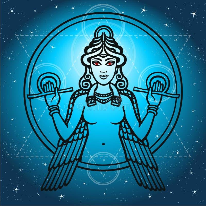 La dea stilizzata Ishtar illustrazione vettoriale