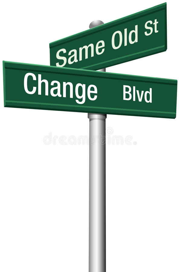 La decisión elige la misma calle vieja o cambia stock de ilustración