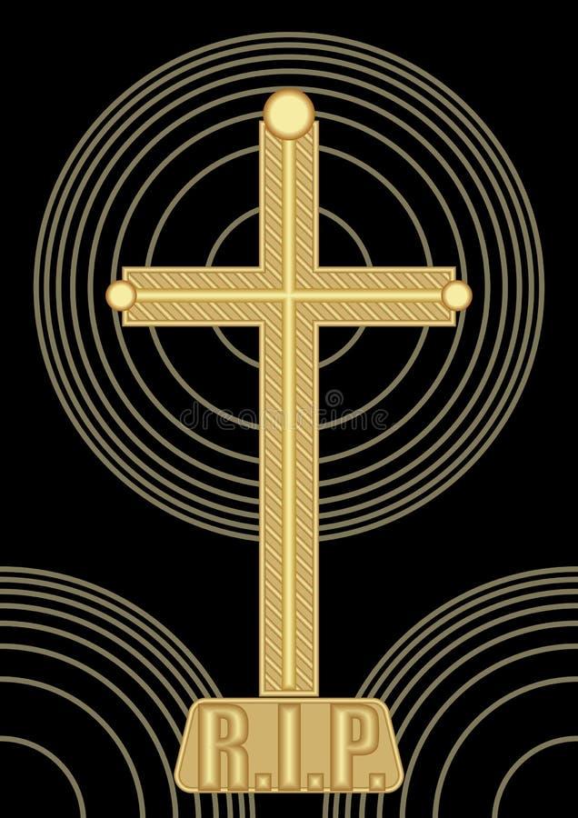 La decoración abstracta simple del entierro con crucifijo de oro y el círculo concéntrico forma en fondo negro stock de ilustración