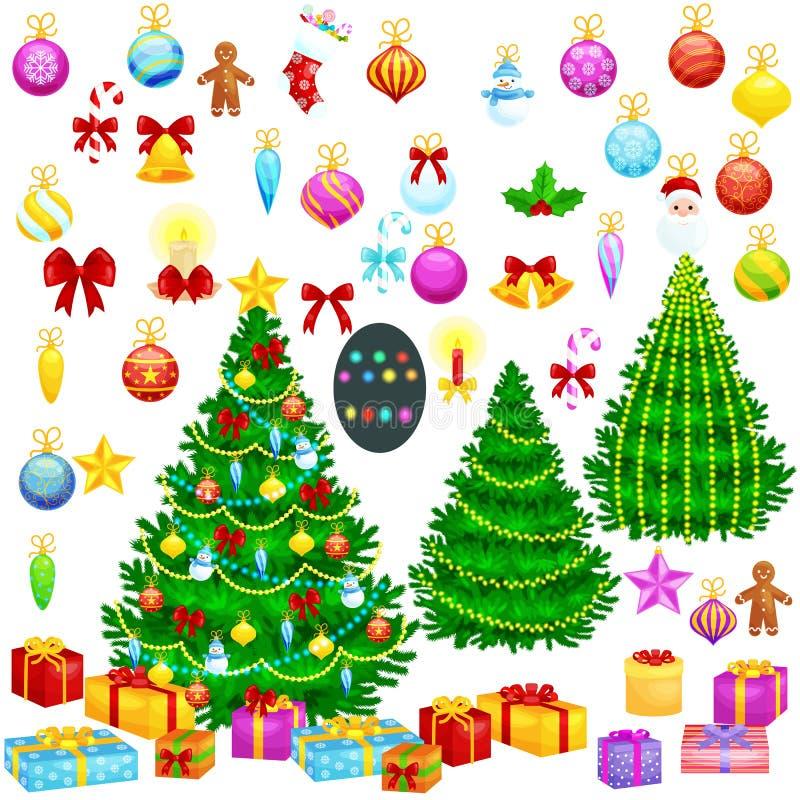 La decoración aislada árbol de navidad del día de fiesta para celebra xmass con el caramelo de las luces de las estrellas de las  stock de ilustración