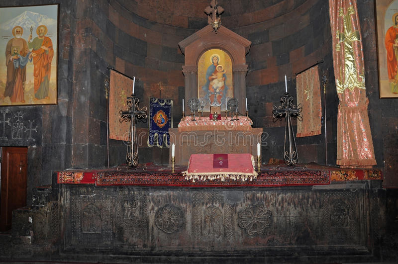 La decoración de la iglesia de Khor Virap, Armenia fotografía de archivo