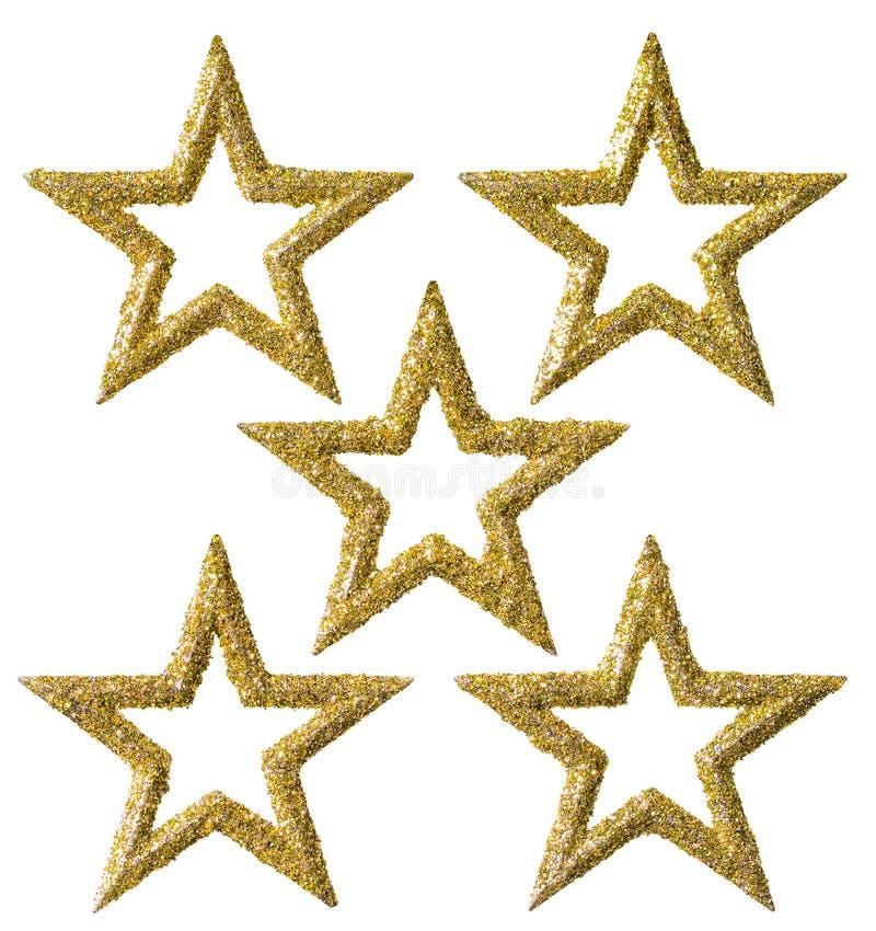 La decoración de la Navidad de la estrella, oro de Navidad chispea sistema decorativo imagen de archivo libre de regalías