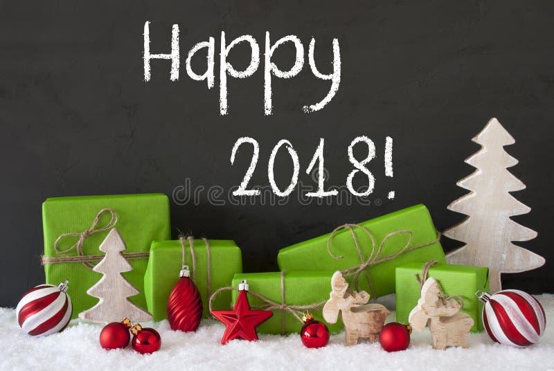 La decoración de la Navidad, cemento, nieve, manda un SMS a 2018 feliz fotografía de archivo