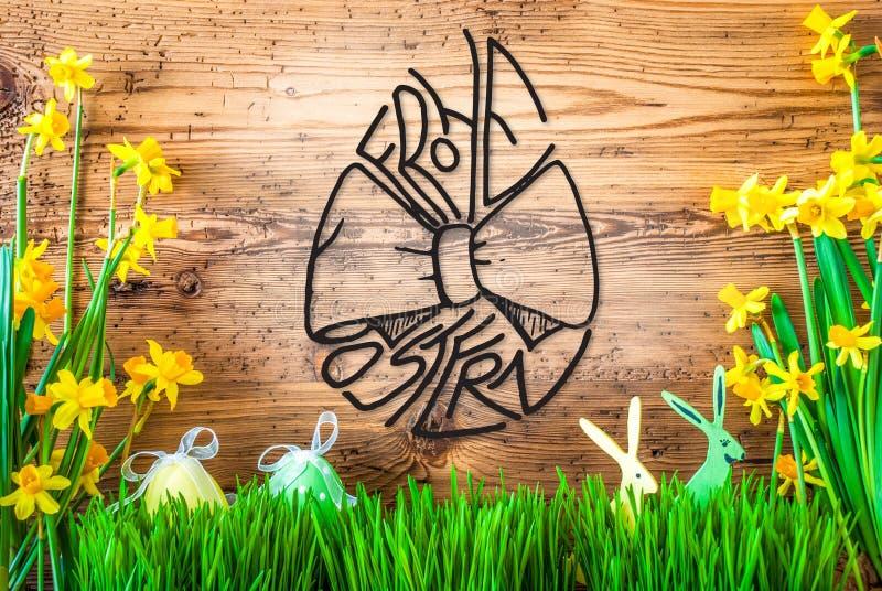 La decoración de Pascua, caligrafía Frohe Ostern de la flor de la primavera significa Pascua feliz foto de archivo libre de regalías