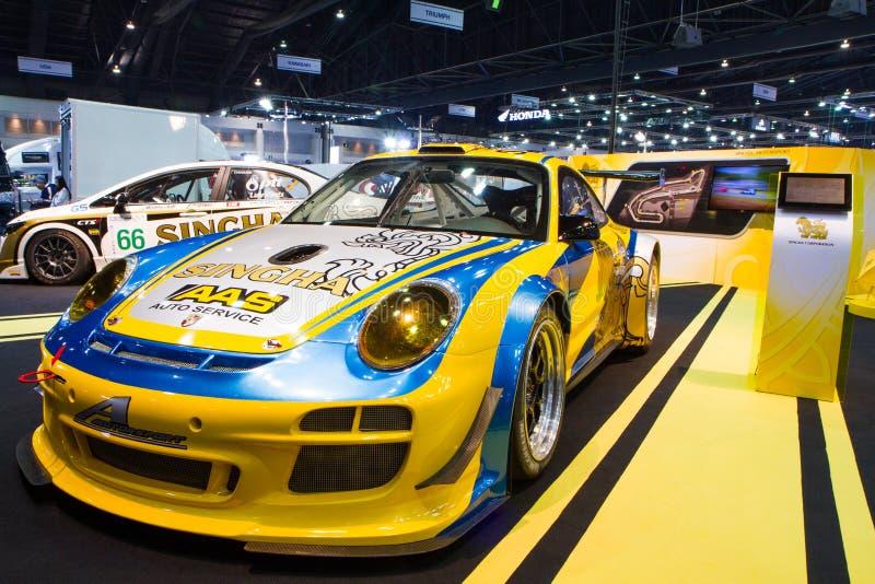 La decoración de Porsche y se modifica por la expo de Singha Team On Thailand International Motor imagen de archivo
