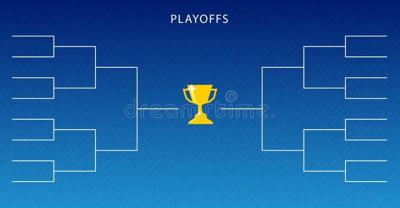 La decoración de segundas fases programa la plantilla en fondo azul Soporte creativo del torneo del diseño stock de ilustración