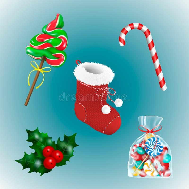 La decoración del día de fiesta de la Navidad fijó con el calcetín rojo y los regalos tradicionales Caramelos Dulces piruleta, ba stock de ilustración
