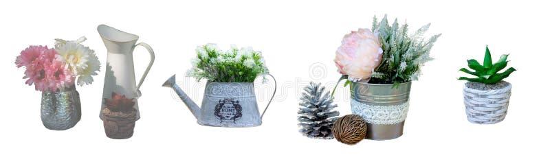 La decoración del pote del jardín del vintage aisló imagenes de archivo