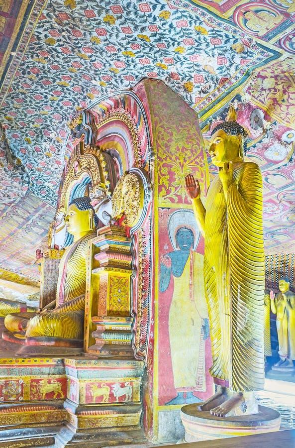 La decoración del templo de Dambulla imagen de archivo