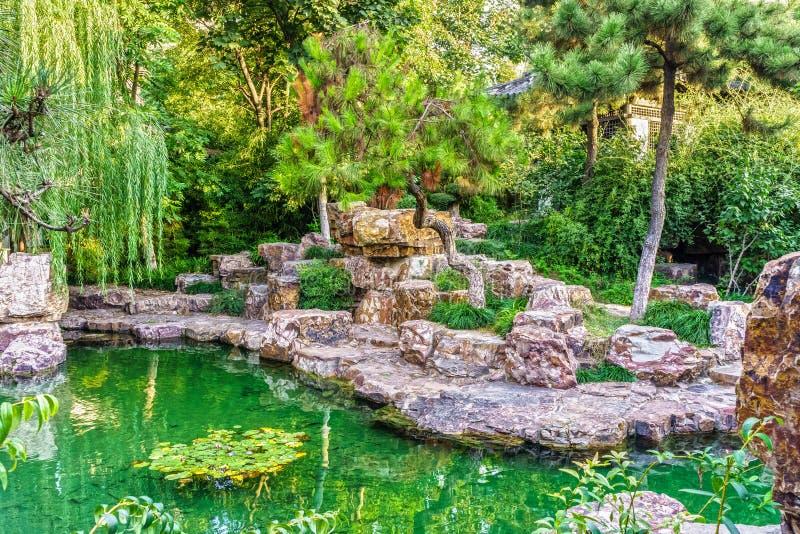La Decoración Exterior Tradicional Del Jardín Chino Foto de archivo ...