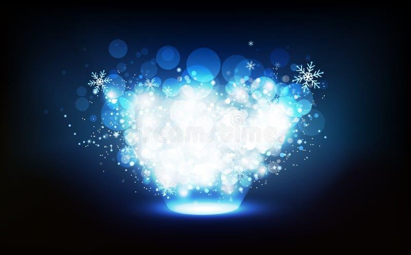 La decoración, invierno de la Navidad, estrellas dispersa la estación del partido del confeti de la celebración del efecto lumino ilustración del vector