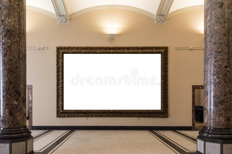 La decorazione in bianco di Art Museum Isolated Painting Frame all'interno mura illustrazione di stock