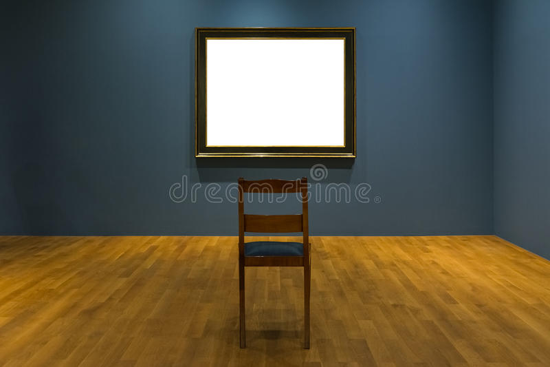 La decorazione in bianco di Art Museum Isolated Painting Frame all'interno mura immagine stock libera da diritti