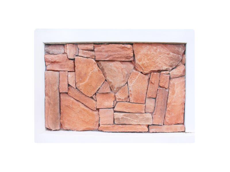 La decorazione brunisce i modelli di pietra nel telaio concreto isolato su fondo bianco fotografia stock libera da diritti