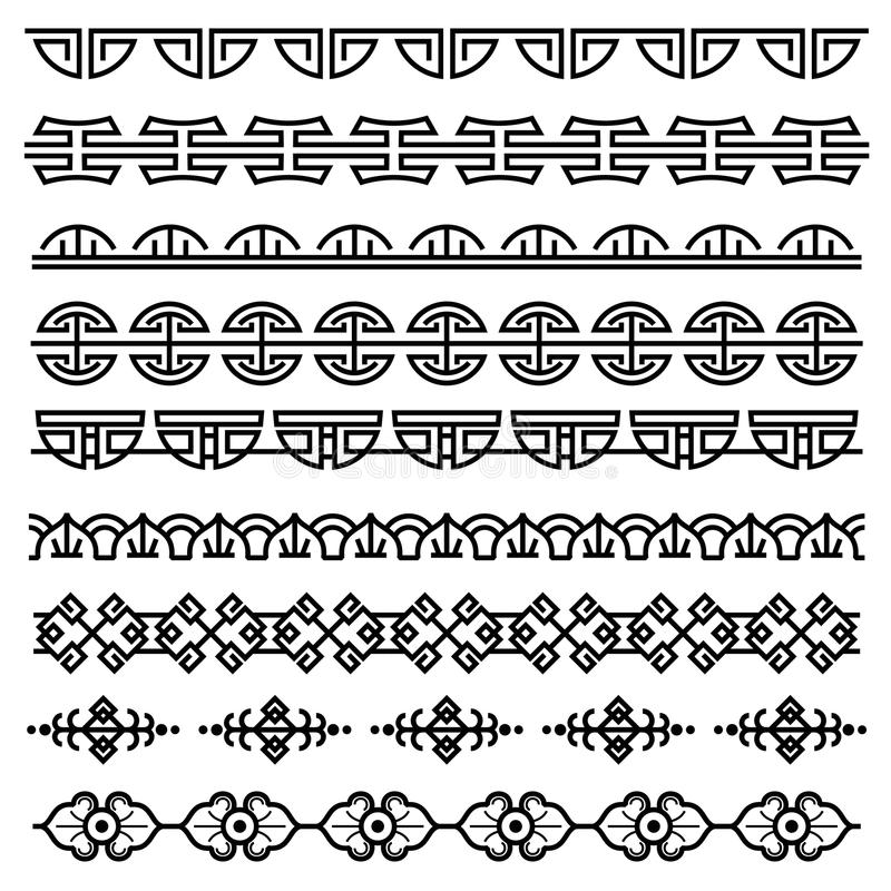 La decorazione cinese, modello coreano antico tradizionale, vector i confini senza cuciture asiatici messi royalty illustrazione gratis