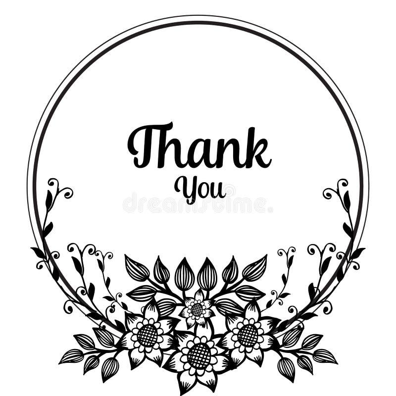 La decorazione della cartolina d'auguri ringrazia voi, la bella struttura del fiore e le foglie Vettore royalty illustrazione gratis