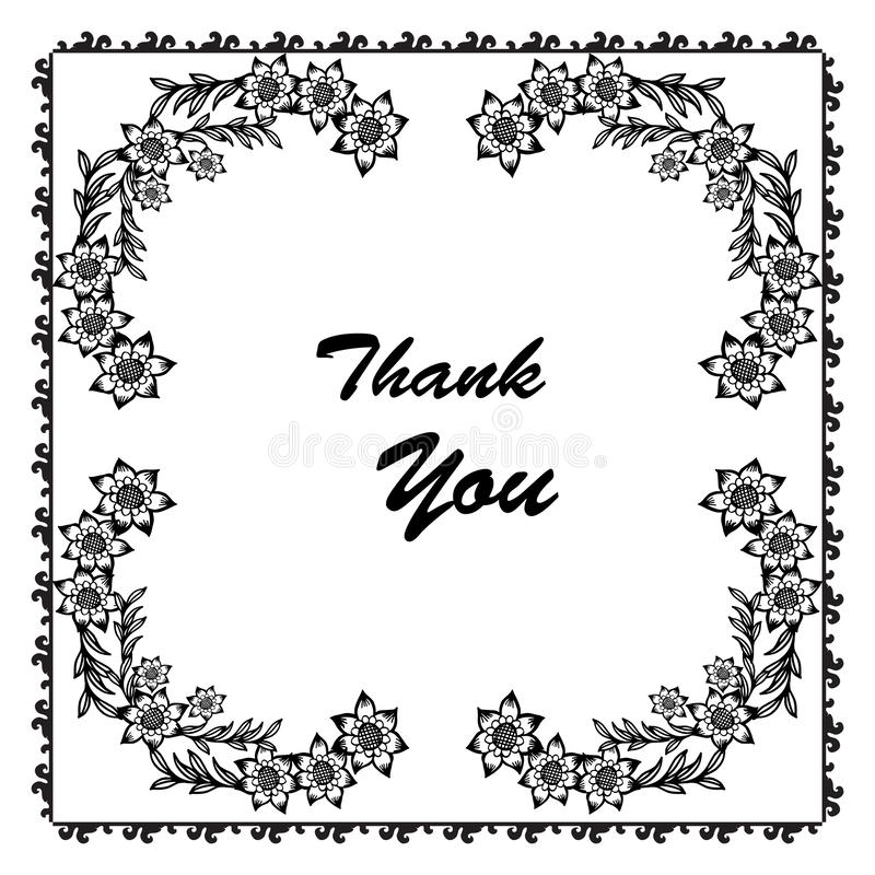 La decorazione della cartolina d'auguri ringrazia voi, la bella struttura del fiore e le foglie Vettore illustrazione di stock