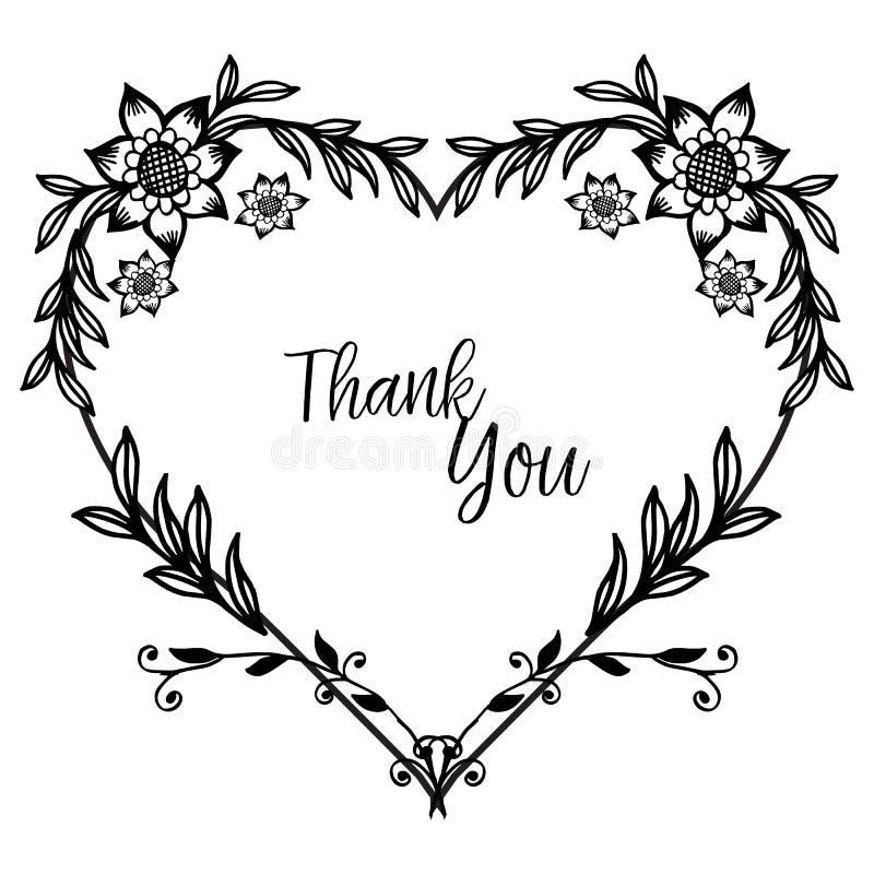 La decorazione della cartolina d'auguri ringrazia voi, la bella struttura del fiore e le foglie Vettore illustrazione vettoriale