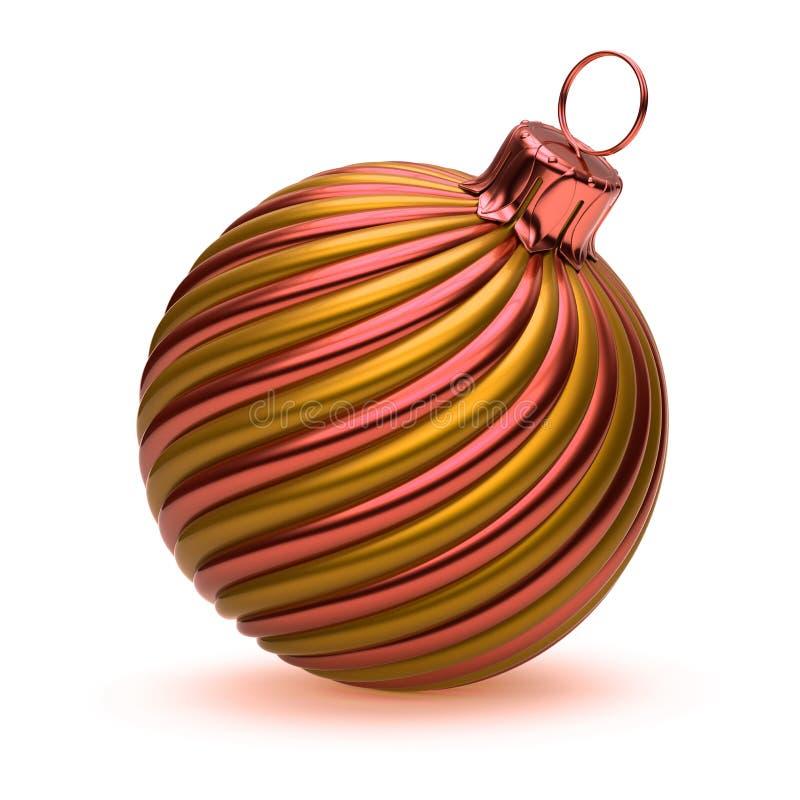 La decorazione della palla di Natale ha barrato la bella arancia dorata della bagattella illustrazione vettoriale