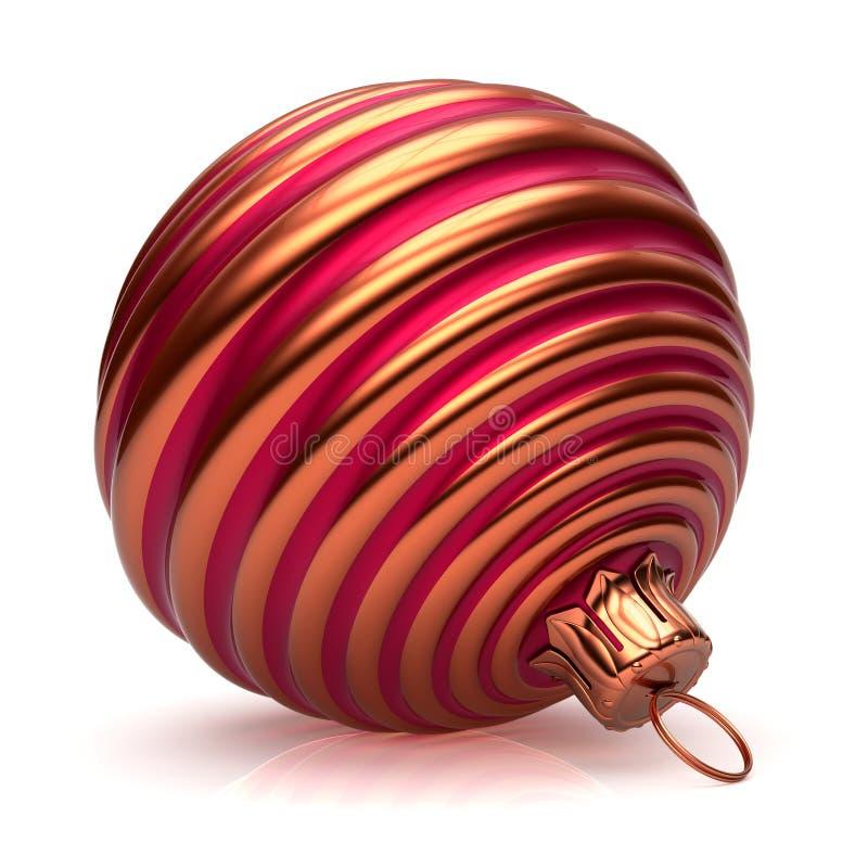 La decorazione di Natale della palla di natale ha barrato alla moda rosso dorato illustrazione vettoriale