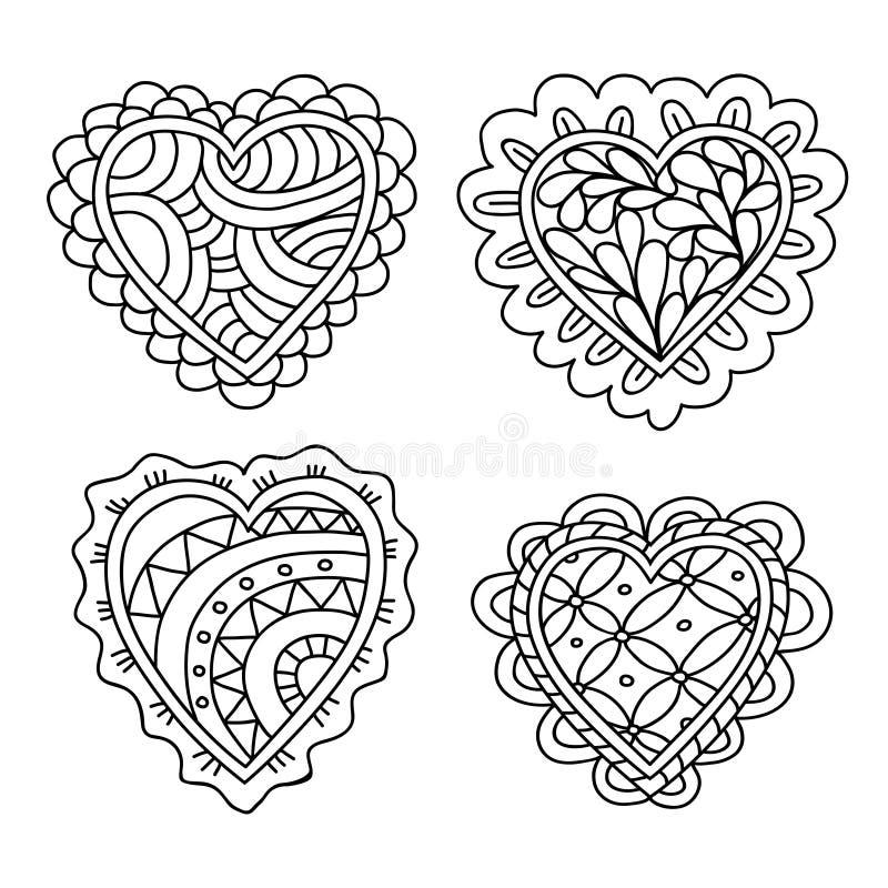La decorazione disegnata a mano astratta dei cuori di scarabocchio ha messo per il biglietto di S. Valentino illustrazione di stock