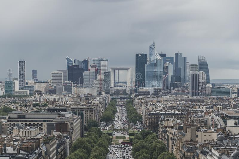 La Defense district and buildings of Paris, France, viewed from top of the Arc de Triomphe stock photo
