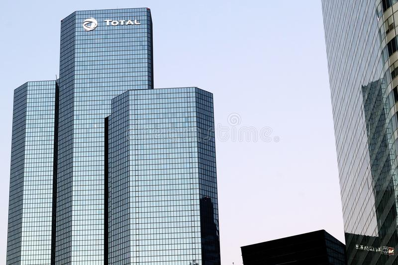 La Defense Oil Company Total Tower Paris headquarters in Courbevoie, france. La Défense Total Oil Company Tower tour Coupole Paris headquarters in Courbevoie royalty free stock photography