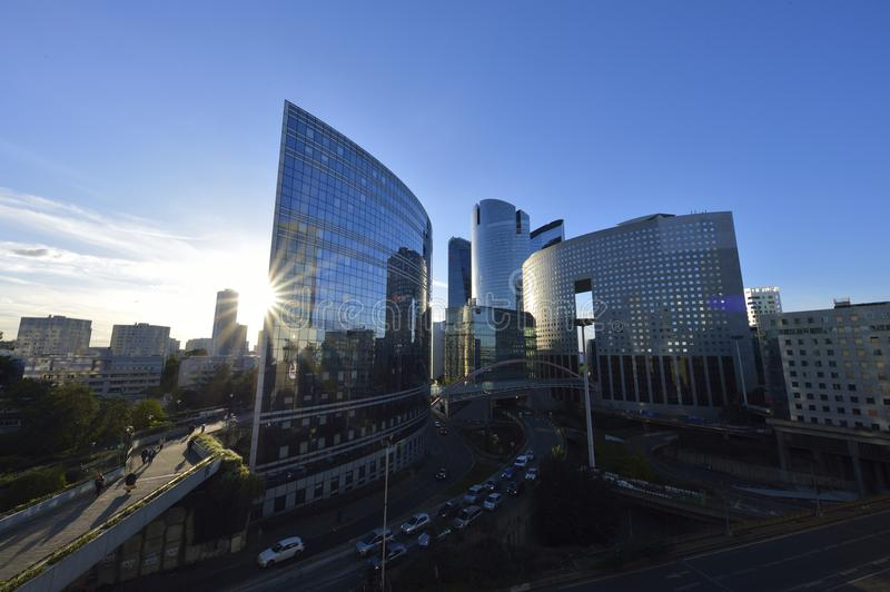 Business buildings at sunset in La Defense stock photo