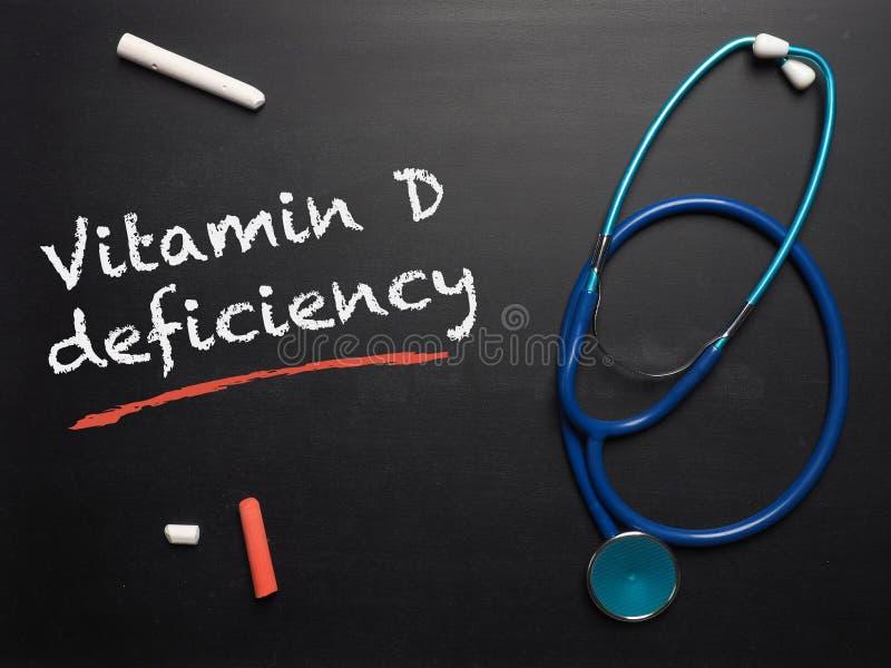 La deficiencia de la vitamina D de las palabras en una pizarra imagen de archivo libre de regalías