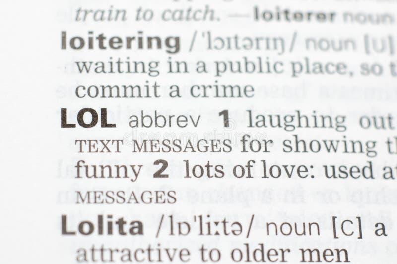 La definición de la abreviatura LOL foto de archivo