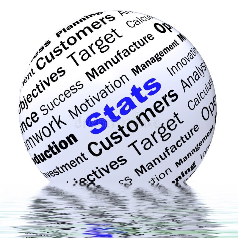 La definizione della sfera di Stats visualizza le relazioni di attività e le figure royalty illustrazione gratis