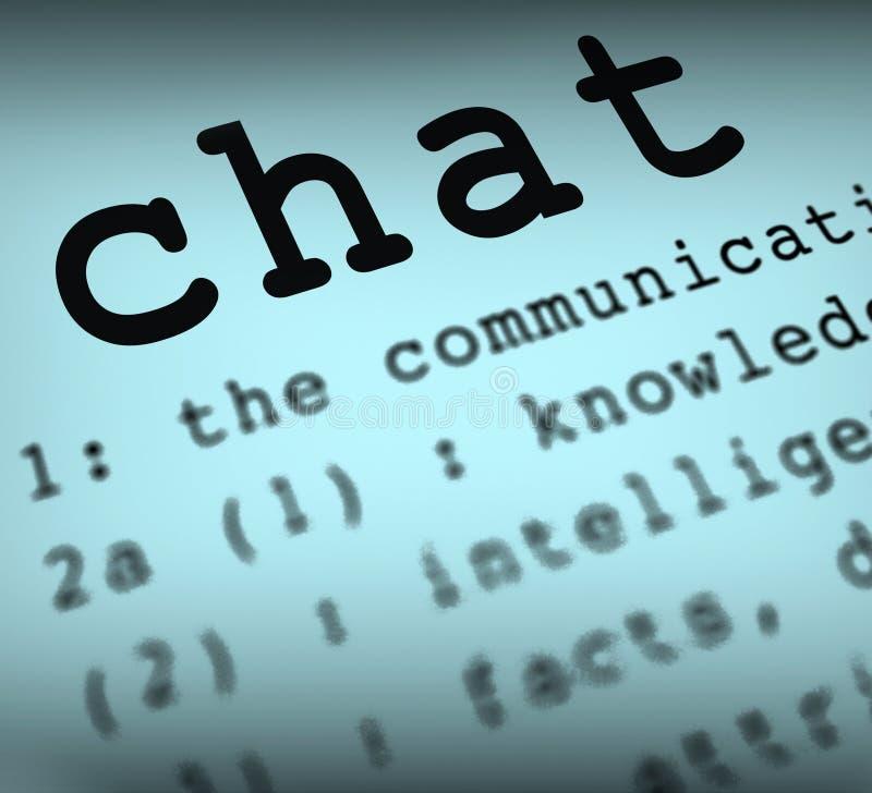 La definizione di chiacchierata significa la comunicazione online o illustrazione di stock