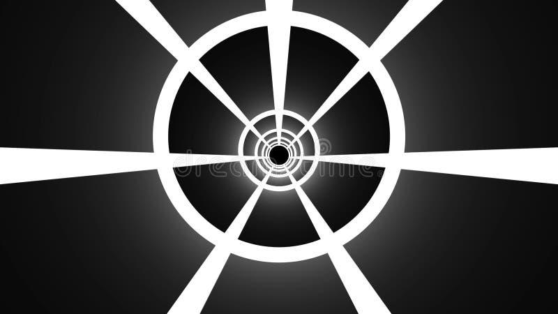 La deformaci?n abstracta del t?nel con las largas colas, movi?ndose en espacio y tiempo, 3d rinde el contexto generado por ordena ilustración del vector
