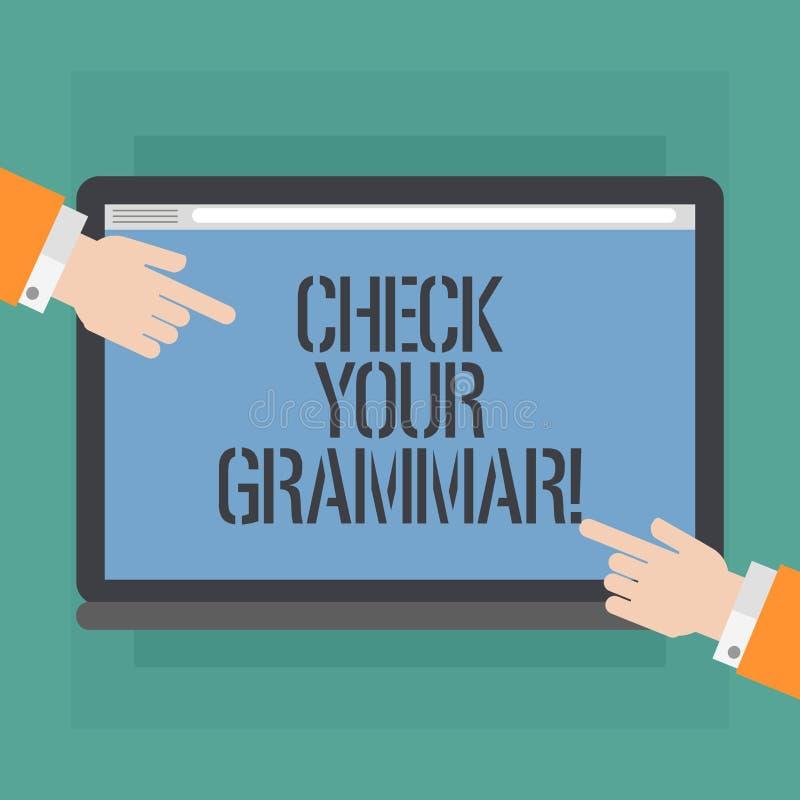 La demostración conceptual de la escritura de la mano comprueba su gramática Foto del negocio que muestra la puntuación de deletr ilustración del vector