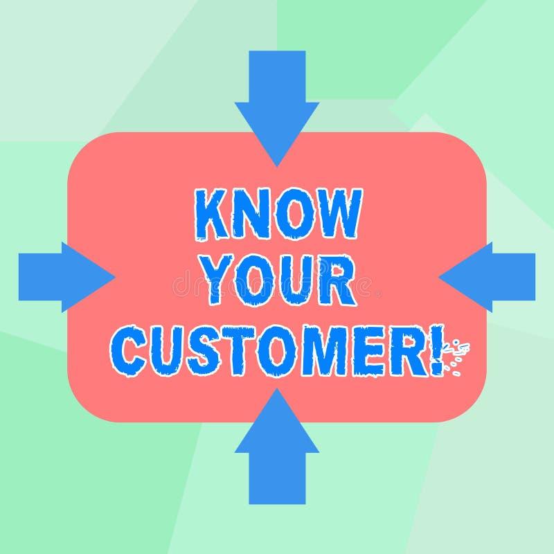 La demostración conceptual de la escritura de la mano conoce a su cliente Texto de la foto del negocio que verifica a clientes de stock de ilustración