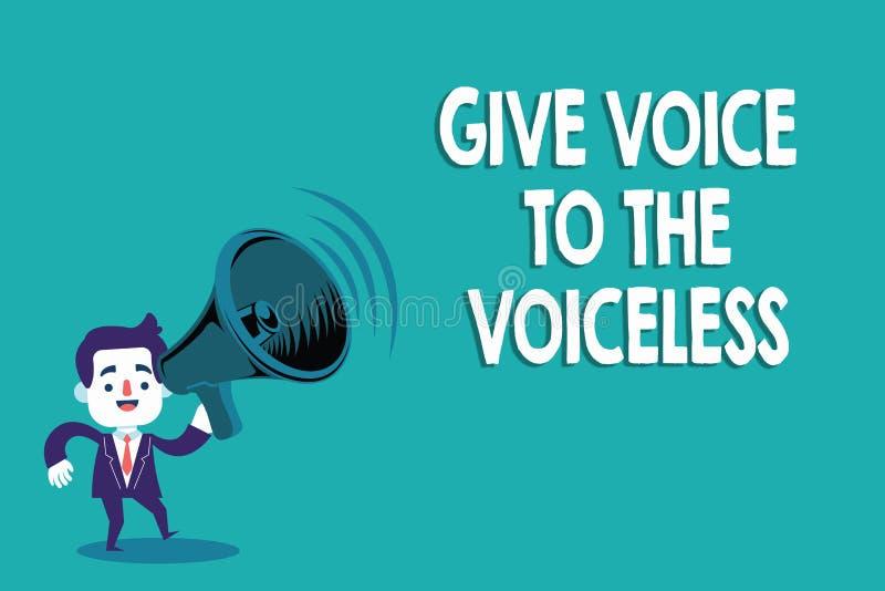 La demostración conceptual de la escritura de la mano da voz al sordo El texto de la foto del negocio habla hacia fuera en nombre ilustración del vector