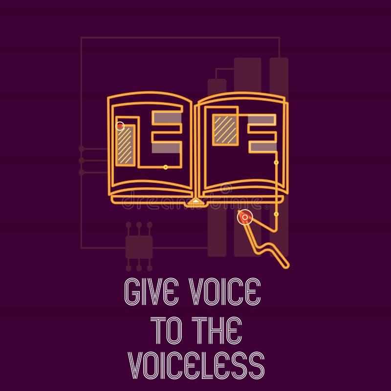 La demostración conceptual de la escritura de la mano da voz al sordo La exhibición de la foto del negocio habla hacia fuera en n ilustración del vector