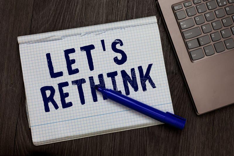 La demostración conceptual de la escritura de la mano dejó s es repiensa El texto de la foto del negocio un cambio a recordar rec fotografía de archivo libre de regalías